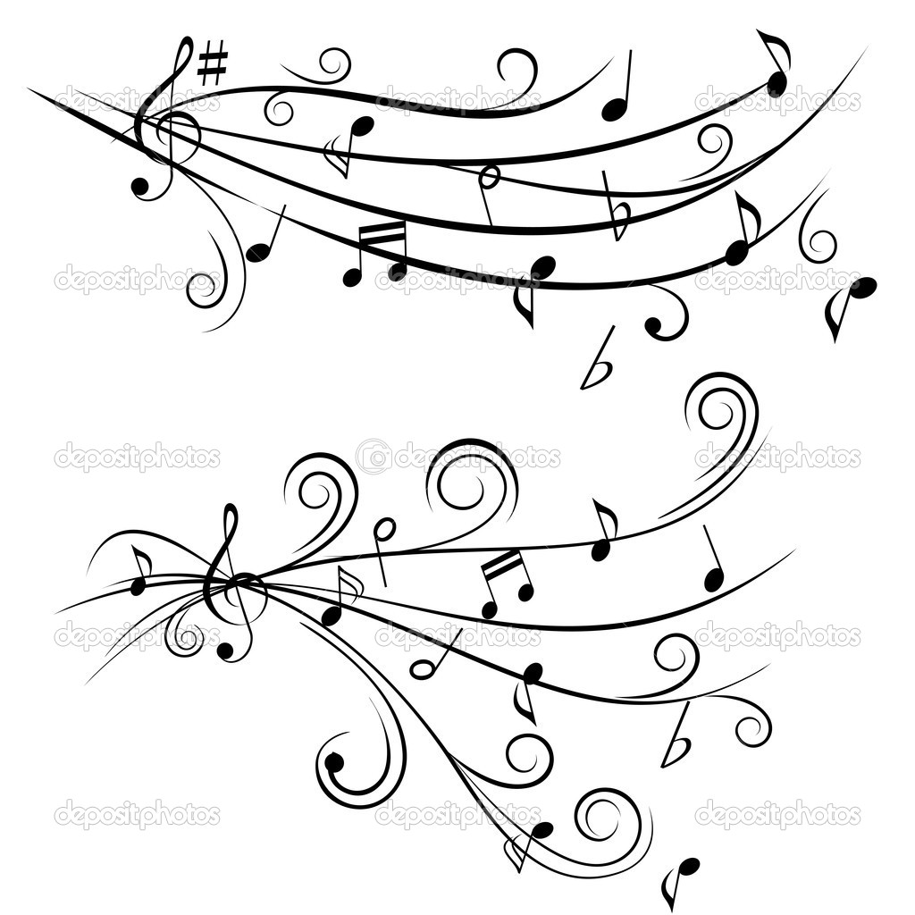 Music notes on swirl shaped staves
