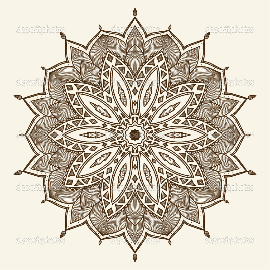 Mandala. Beautiful hand drawn flower. Ethnic lace round ornamental pattern. Can be used to fabric design, decorative paper, web design, embroidery, tattoo, etc.