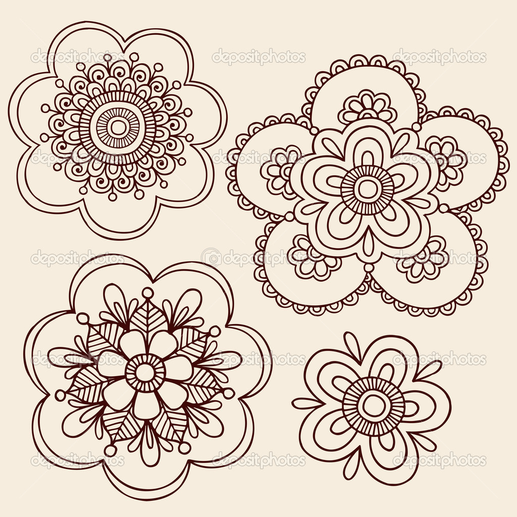 henna doodle flowers