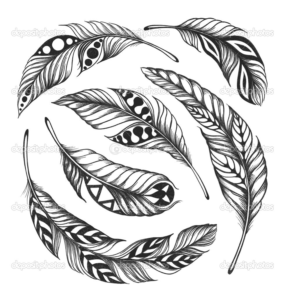 Black- on-white feathers in Indian style are arranged in a circle. Isolated on white background. Vector. EPS10